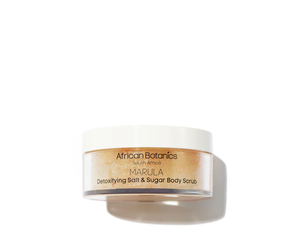 African Botanics Marula Detoxifying Salt and Sugar Scrub in 6.76 oz | Shop now on @violetgrey https://www.violetgrey.com/product/marula-detoxifying-salt-and-sugar-scrub/AFB-SSBS-12