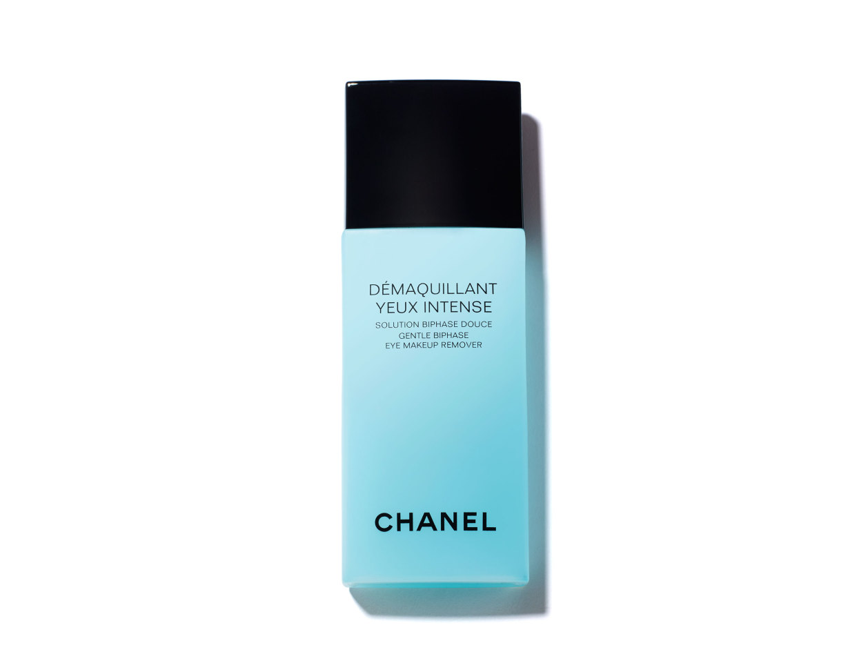 Chanel Démaquillant Yeux Intense Gentle Bi-Phase Eye Makeup Remover in 3.4 oz   Shop now on @violetgrey https://www.violetgrey.com/product/demaquillant-yeux-intense-gentle-bi-phase-eye-makeup-remover/CHN-166140