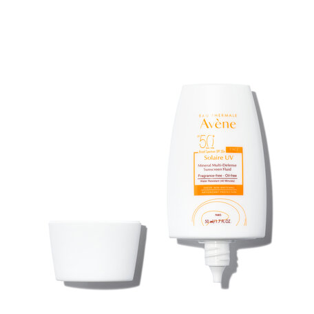 EAU THERMALE AVÈNE Solaire UV Mineral Multi-Defense Sunscreen Fluid SPF 50+ - 1.7 oz. | @violetgrey