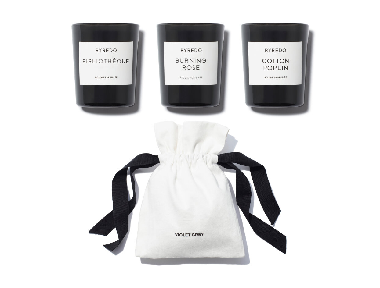 Byredo - Mini Candle Set in Cotton Poplin, Bibliotheque & Burning Rose