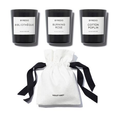 BYREDO Mini Candle Set - Cotton Poplin, Bibliotheque & Burning Rose | @violetgrey