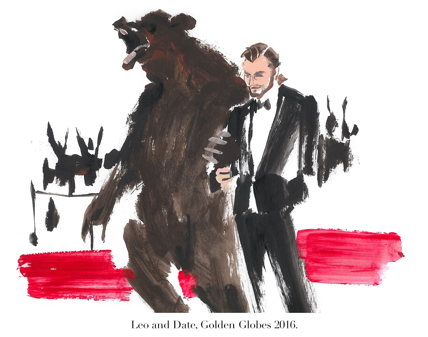 Hollyhood by Donald Robertson | Leonardo DiCaprio and date at the Golden Globes | THE VIOLET FILES | @violetgrey
