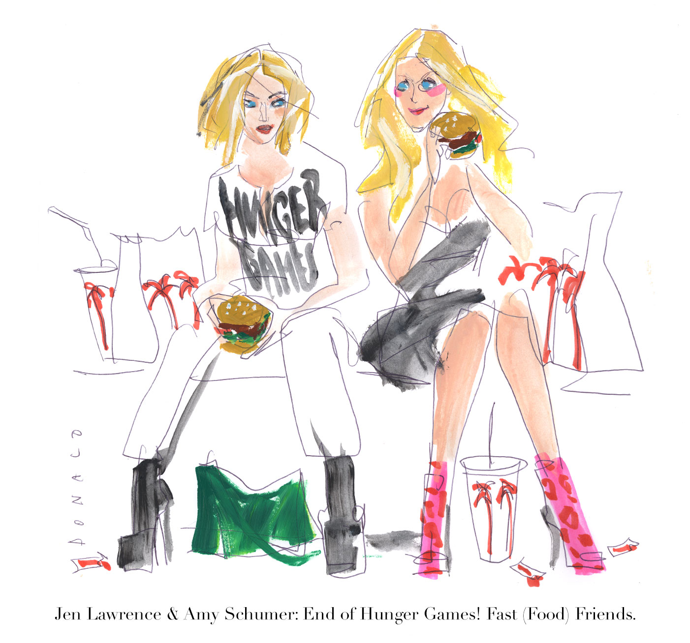 Amy Schumer & Jennifer Lawrence | Fast (Food) Friends | The Hunger Games | The Violet Files | @drawbertson | @violetgrey