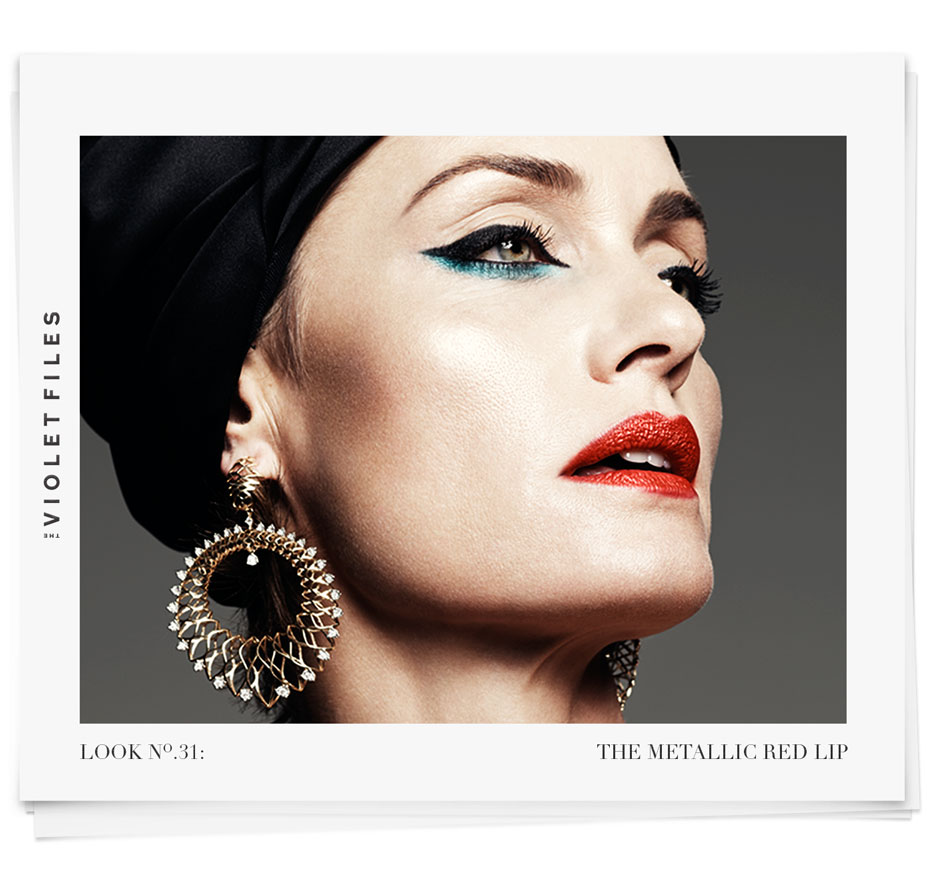 The Metallic Red Lip on Amber Valletta | The Violet Files | Makeup by Rachel Goodwin | @violetgrey