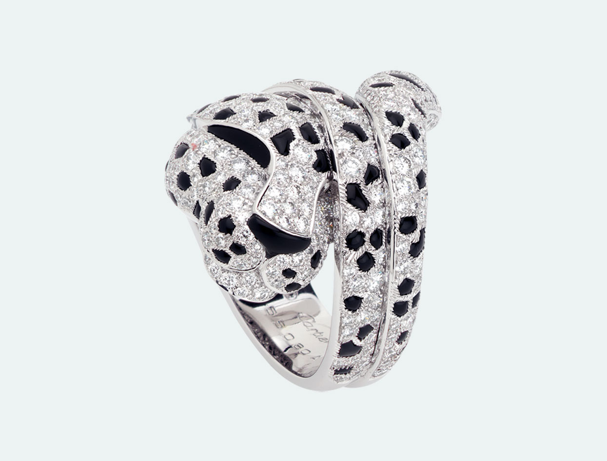 Cartier Onyx and Diamond Panther Ring from FD Gallery | Necessary Jewel | Violet Must